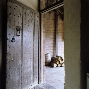 The heavily studded back door through which King Charles II entered Moseley Old Hall, Staffordshire early on 8 September 1651