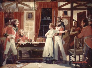 """Laura Secord warns Fitzgibbons, 1813"" by Lorne Kidd Smith (1880-1966) - (LAC 