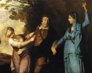 """Reynolds-Garrick between tragedy and comedy"" by Joshua Reynolds - [1]. Licensed under Public Domain via Wikimedia Commons -"