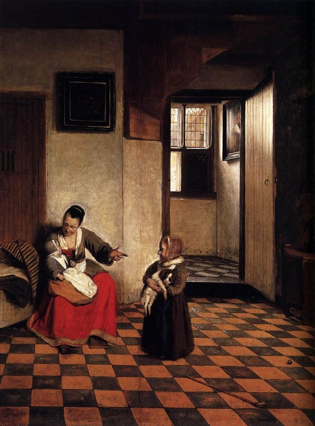 Pieter_de_Hooch_-_A_Woman_with_a_Baby_in_Her_Lap,_and_a_Small_Child_-_WGA11693