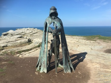 The King Arthur statue at Tintagel. The statue is called Gallos, which is Cornish for power. The sculpture is by Rubin Eynon