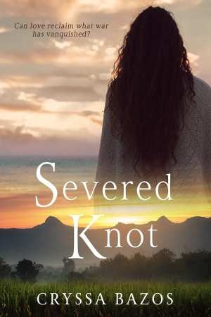 Severed Knot book cover. A woman standing with her back facing us looking out to the sea and framed against a dramatic sky. Below are sugarcane fields